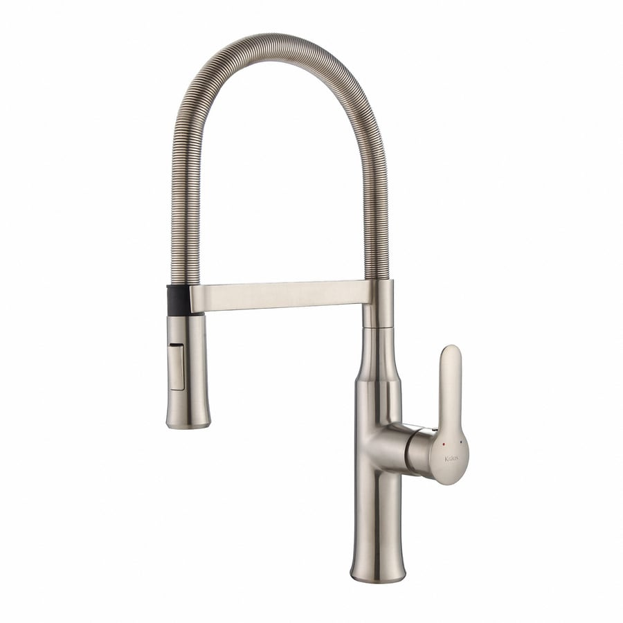 Kraus Nola Stainless Steel 1-Handle High-Arc Sink/Counter Mount Traditional Kitchen Faucet