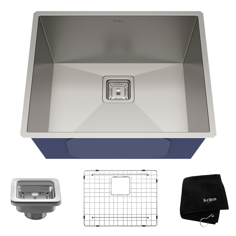 Kraus Pax Zero-Radius 18.5-in x 22.5-in Stainless Steel Single-Basin Undermount Corner Installation Residential Kitchen Sink