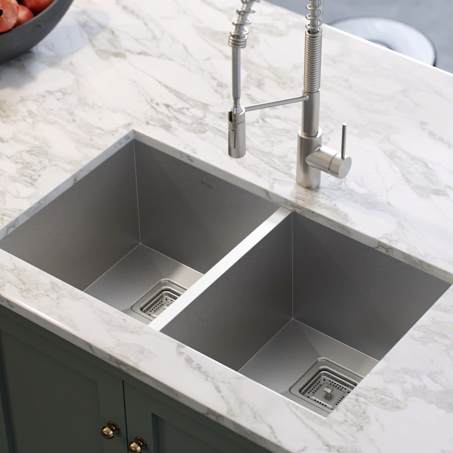 Kraus Pax Zero-Radius 18.5-in x 31.5-in Stainless Steel Double-Basin Undermount Corner Installation Residential Kitchen Sink
