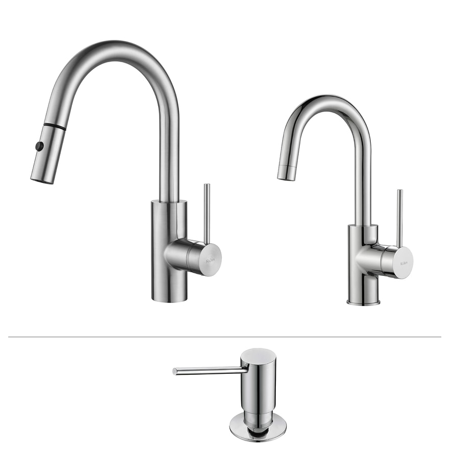 Kraus Kitchen Faucet Set Chrome 1-Handle Pull-Down Sink/Counter Mount Traditional Kitchen Faucet