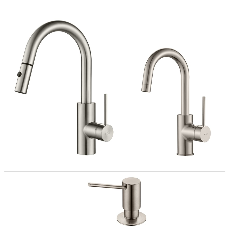 Kraus Quick-Install Stainless Steel 1-Handle Pull-Down Kitchen Faucet
