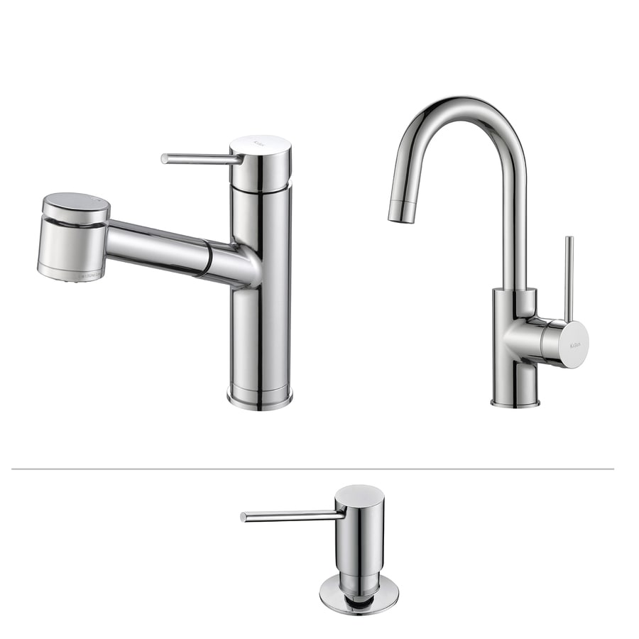 Kraus Quick-Install Chrome 1-Handle Pull-Out Kitchen Faucet
