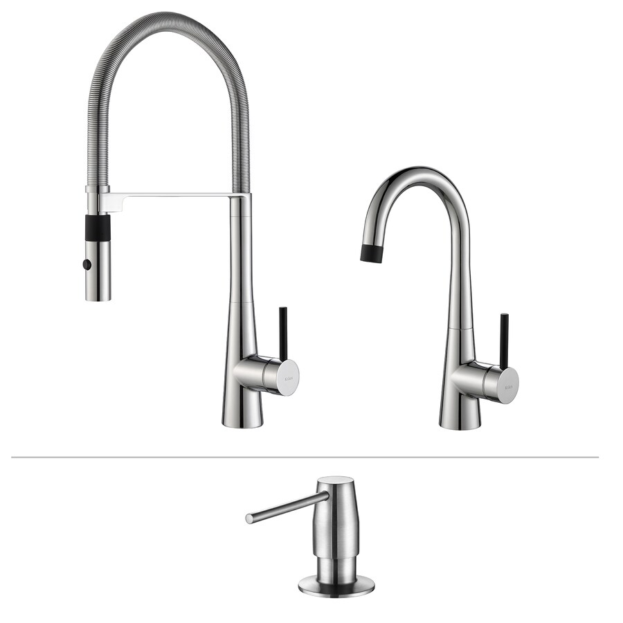 Shop Kraus Quick Install Chrome 1 Handle Pre Rinse Kitchen Faucet At