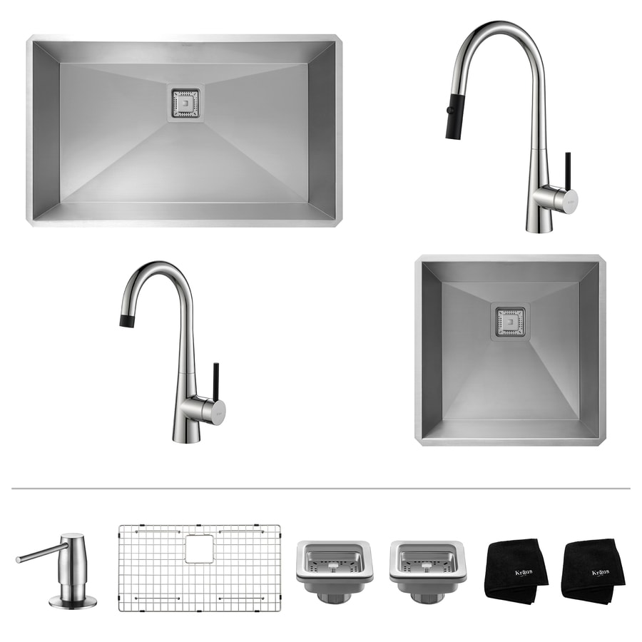 Kraus Pax Zero-Radius 18.5-in x 31.5-in Stainless Steel Sink with Chrome Faucet Double-Basin Undermount Corner Installation Residential Kitchen Sink All-In-One Kit