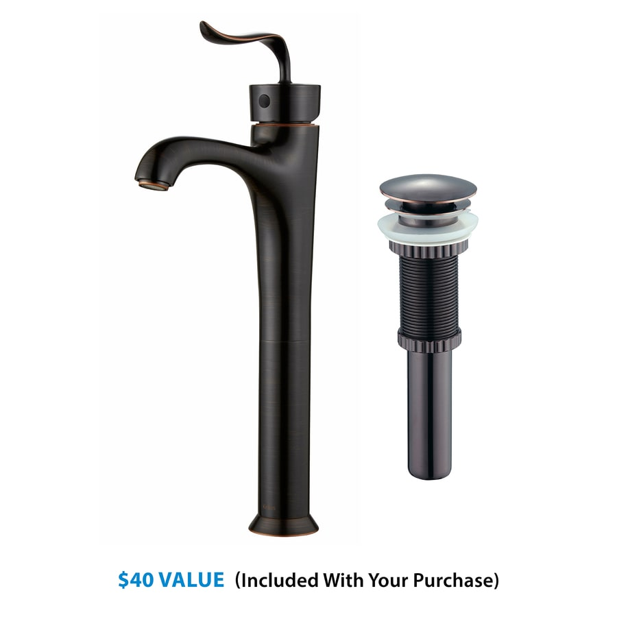 Kraus Premier Oil Rubbed Bronze 1-Handle Vessel WaterSense Bathroom Faucet (Drain Included)