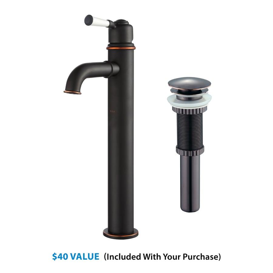 Kraus Premier Oil Rubbed Bronze 1-Handle Vessel WaterSense Bathroom Faucet (Drain Included)