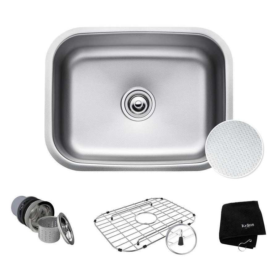 Kraus Outlast Microshield 17.5-in x 23-in Stainless Steel Single-Basin-Basin Stainless Steel Undermount (Customizable)-Hole Residential Kitchen Sink