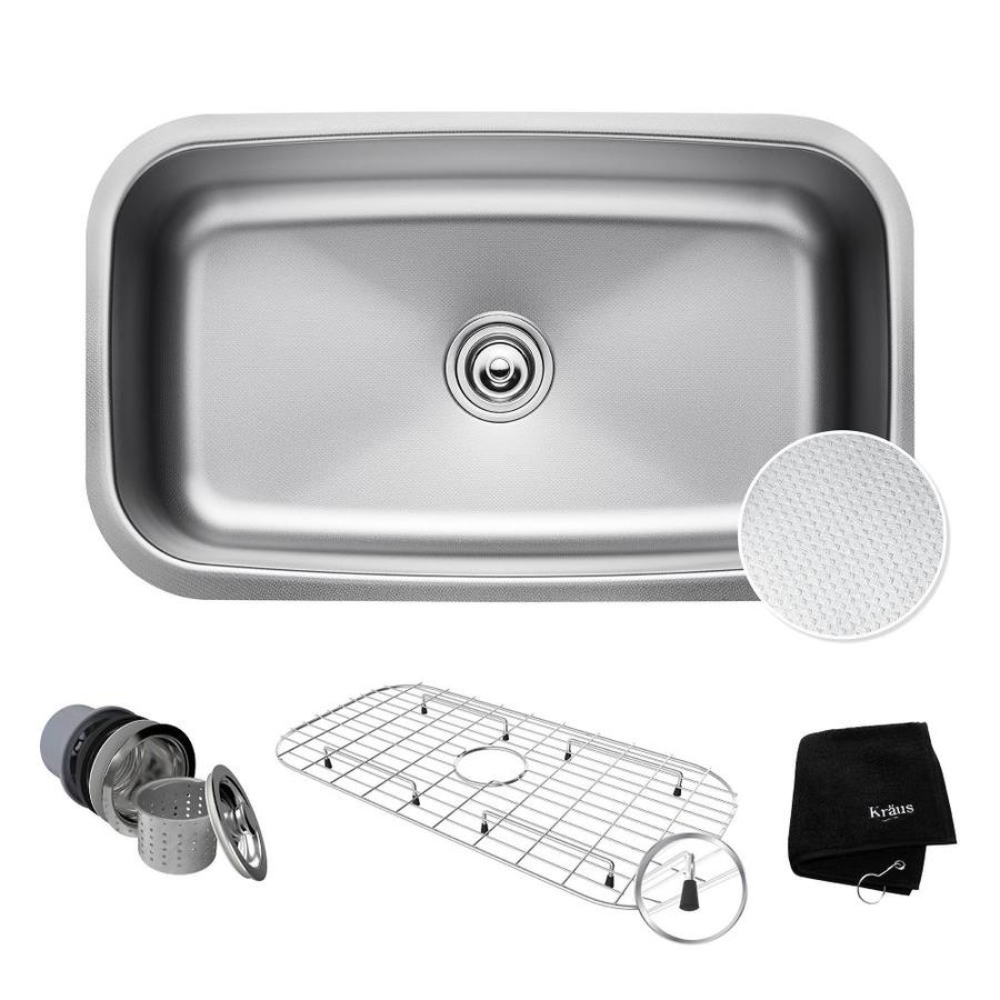 Kraus Outlast Microshield 18.38-in x 31.5-in Single-Basin Stainless Steel Undermount Residential Kitchen Sink