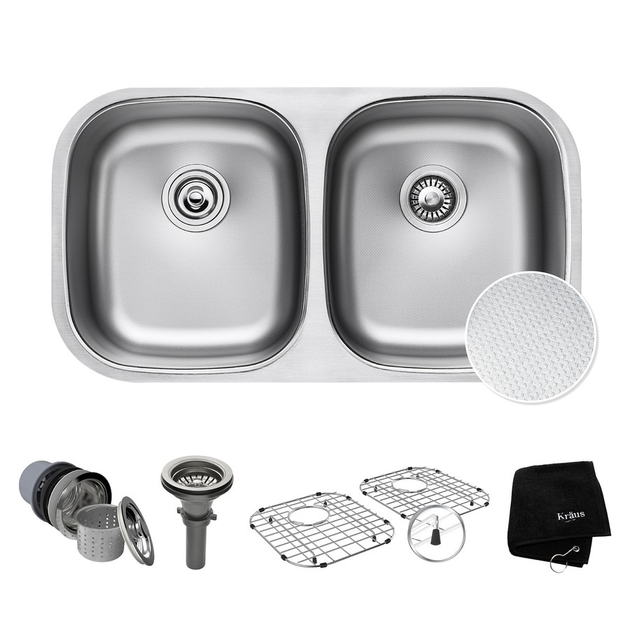Kraus Outlast Microshield 18-in x 32.25-in Double-Basin Stainless Steel Undermount Residential Kitchen Sink