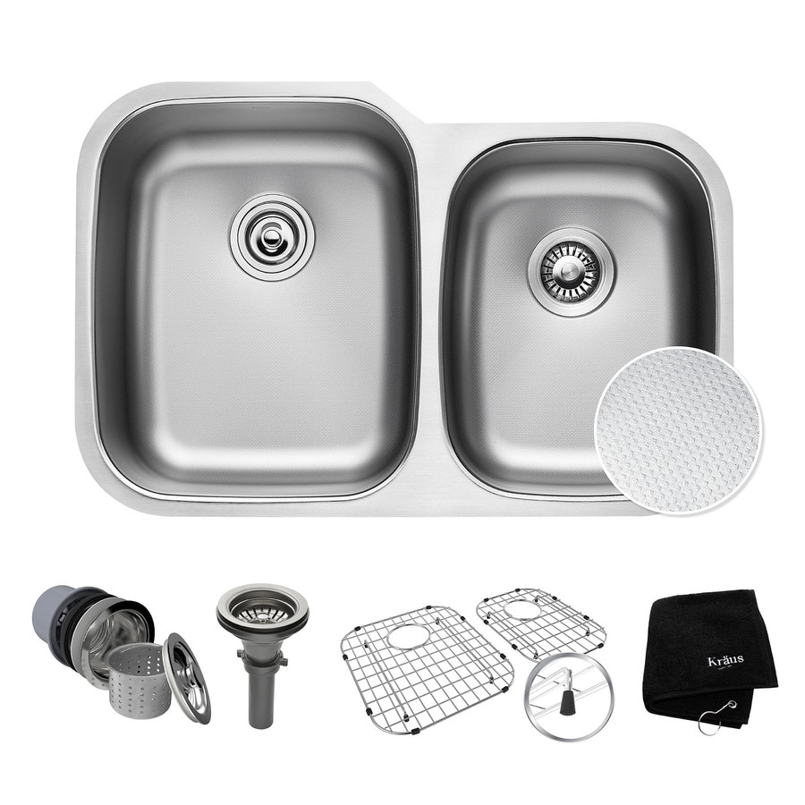 Kraus Outlast Microshield 20.63-in x 32-in Double-Basin Stainless Steel Undermount Residential Kitchen Sink