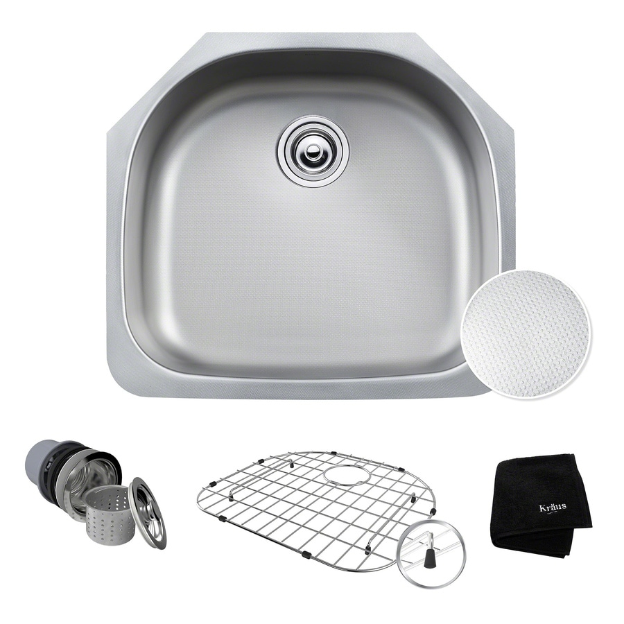 Kraus Outlast Microshield 21-in x 23.38-in Stainless Steel 1 Stainless Steel Undermount (Customizable)-Hole Residential Kitchen Sink