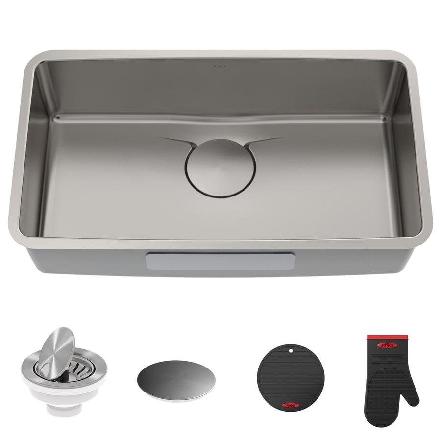Kraus Dex 19-in x 32.87-in Stainless Steel Single-Basin Undermount Commercial/Residential Kitchen Sink