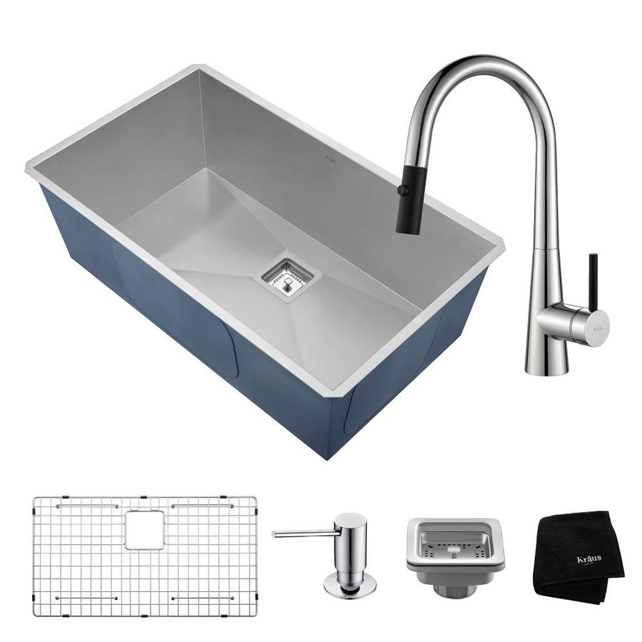 Kraus Pax 18.5-in x 31.5-in Satin Single-Basin Stainless Steel Undermount Commercial/Residential Kitchen Sink All-in-One Kit
