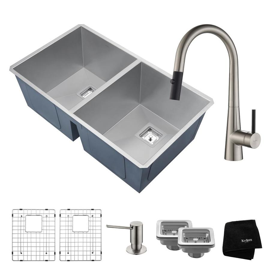 Kraus Pax 18.5-in x 31.5-in Satin Double-Basin Stainless Steel Undermount Commercial/Residential Kitchen Sink All-in-One Kit