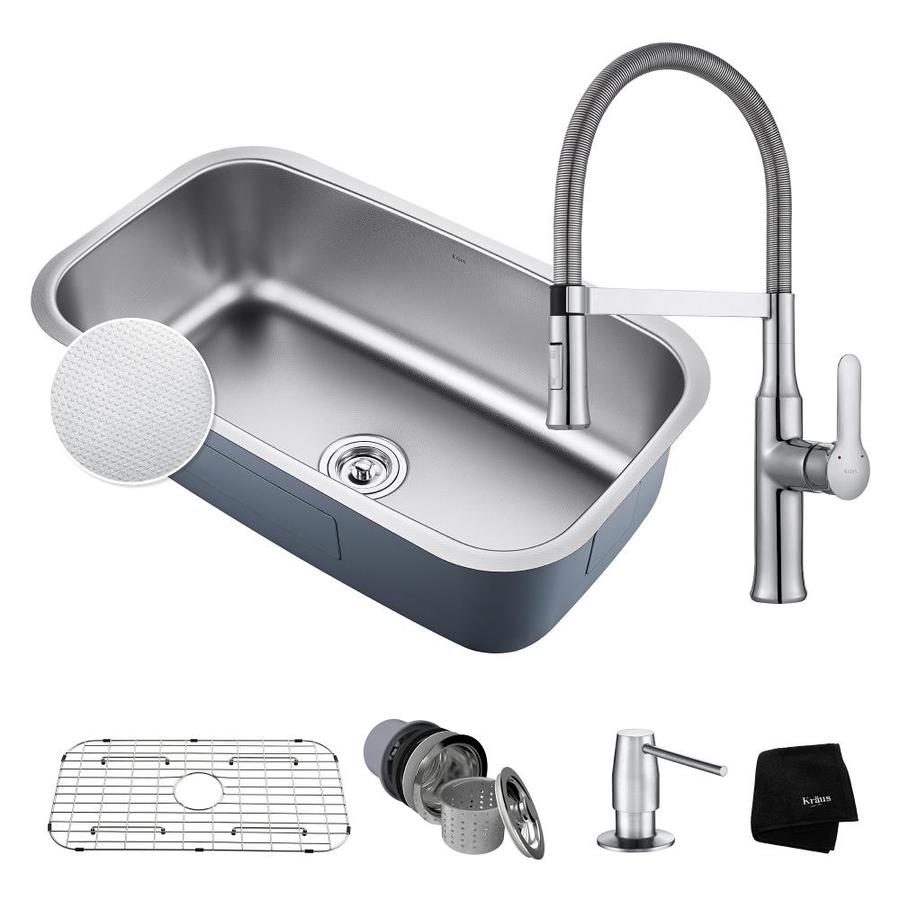 Kraus Outlast 18.38-in x 31.5-in Embossed Single-Basin Stainless Steel Undermount Commercial/Residential Kitchen Sink All-in-One Kit