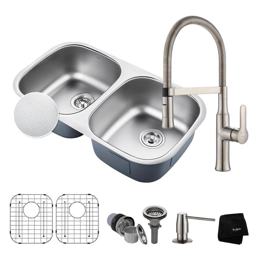 Kraus Outlast 18-in x 32.25-in Embossed Double-Basin Stainless Steel Undermount Commercial/Residential Kitchen Sink All-in-One Kit