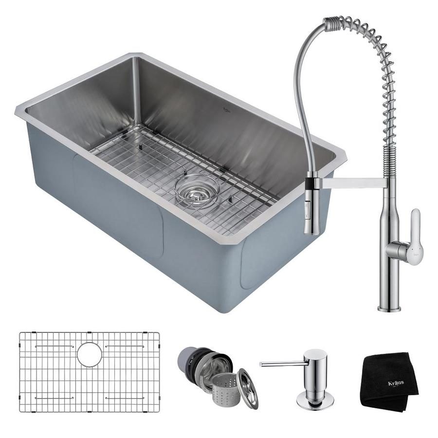 Kraus Handmade 18-in x 30-in Satin Single-Basin Stainless Steel Undermount Commercial/Residential Kitchen Sink All-in-One Kit