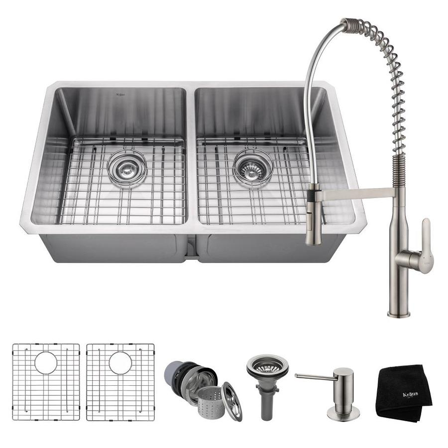 Kraus Handmade 19-in x 32.75-in Satin Double-Basin Stainless Steel Undermount Commercial/Residential Kitchen Sink All-in-One Kit
