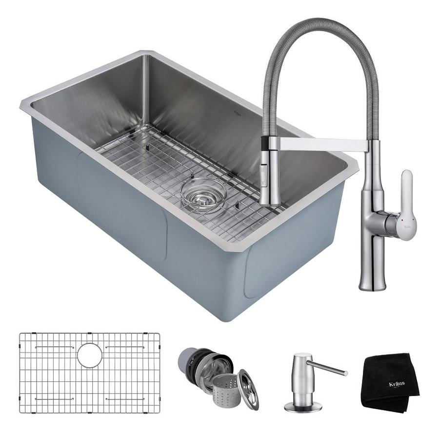 Shop Kraus Handmade 30-in x 18-in Satin Single-Basin Stainless Steel ...