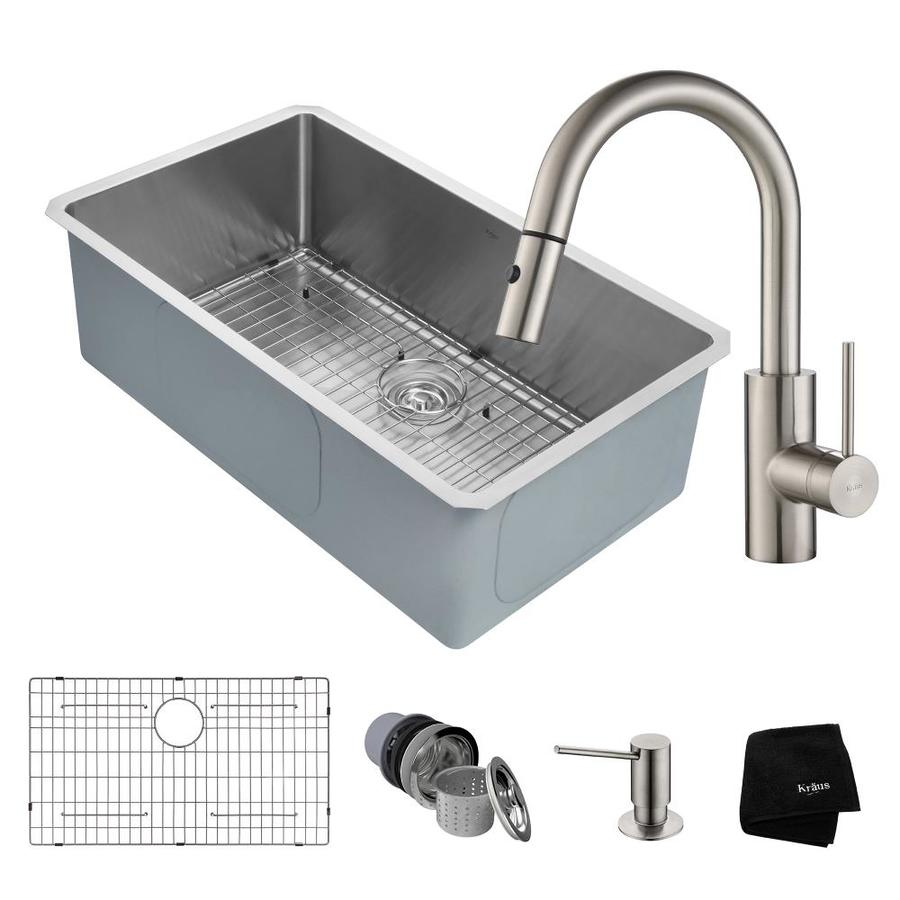 Kraus Handmade 19-in x 32-in Satin Single-Basin Stainless Steel Undermount Commercial/Residential Kitchen Sink All-in-One Kit