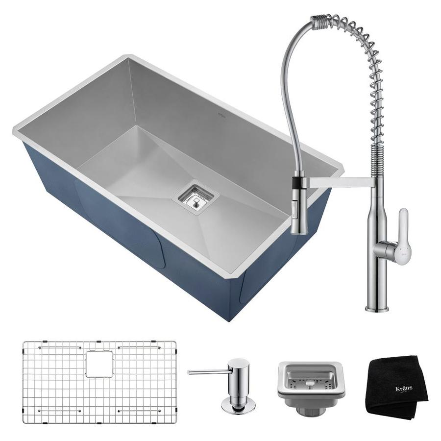 Kraus Pax 315 In X 185 In Satin Single Basin Undermount Commercial