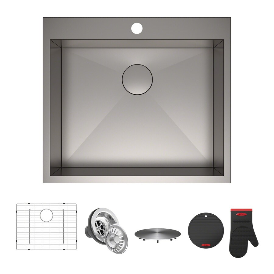 Kraus Pax 22-in x 25-in Satin Single-Basin Stainless Steel Undermount 1-Hole Commercial/Residential Kitchen Sink