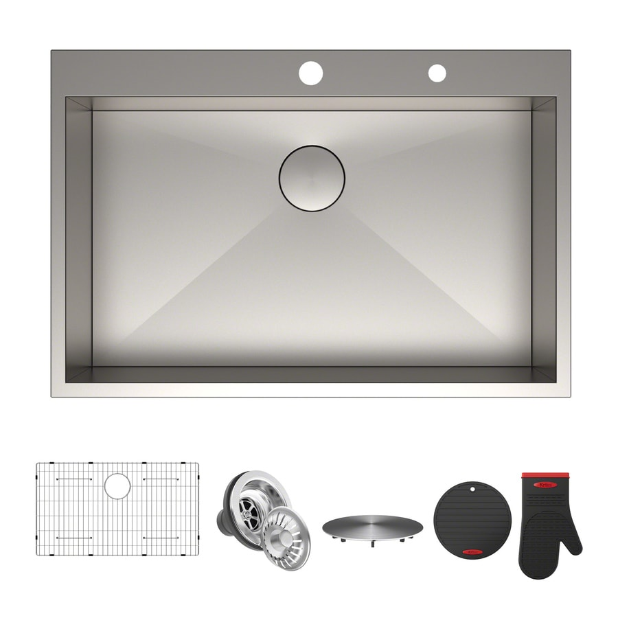 Shop kitchen sinks at lowes display product reviews for pax 22 in x 33 in satin single basin workwithnaturefo