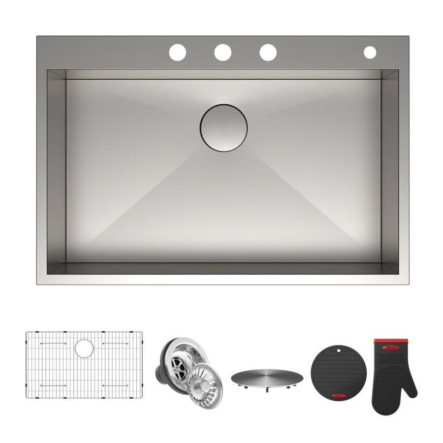Kraus Pax 22-in x 33-in Satin Single-Basin Stainless Steel Undermount 4-Hole Commercial/Residential Kitchen Sink