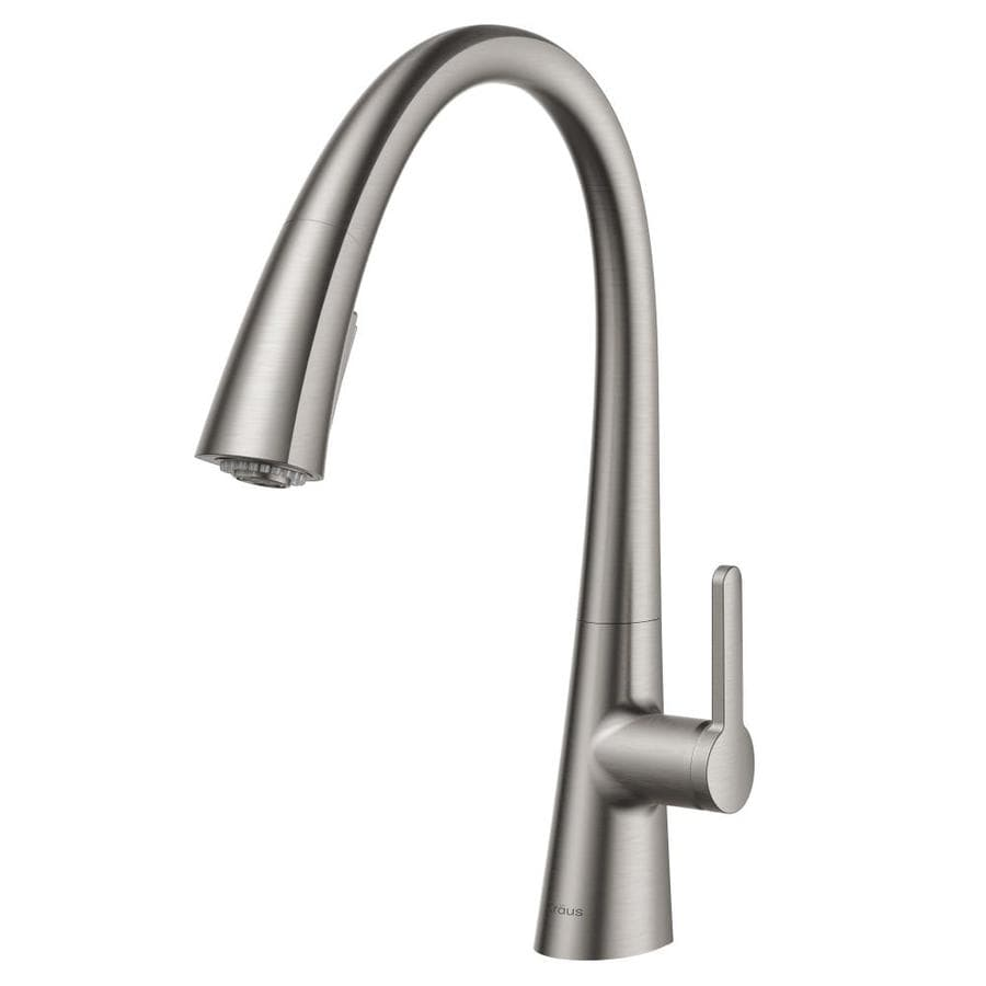 Beau Kraus Nolen Stainless Steel 1 Handle Deck Mount Pull Down Kitchen Faucet