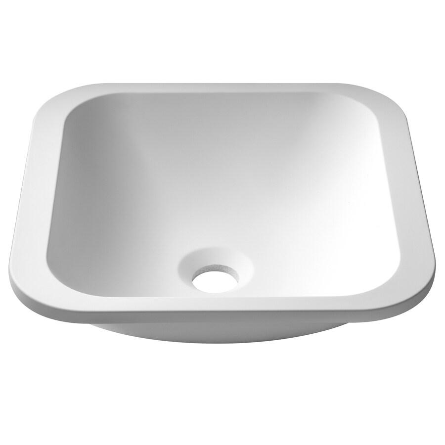 Kraus Natura Matte White Solid Surface Bathroom Sink
