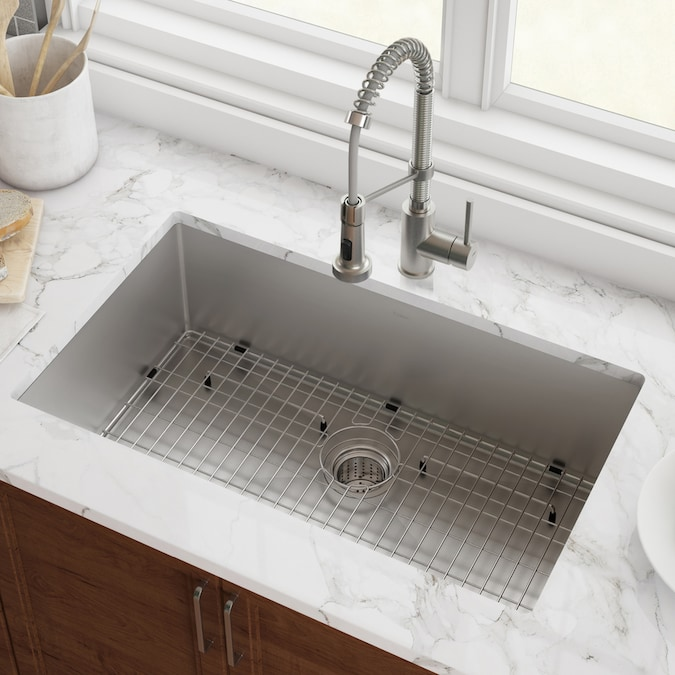 Kraus Standart Pro Undermount 28 In X 19 In Stainless Steel Single Bowl Kitchen Sink In The Kitchen Sinks Department At Lowes Com