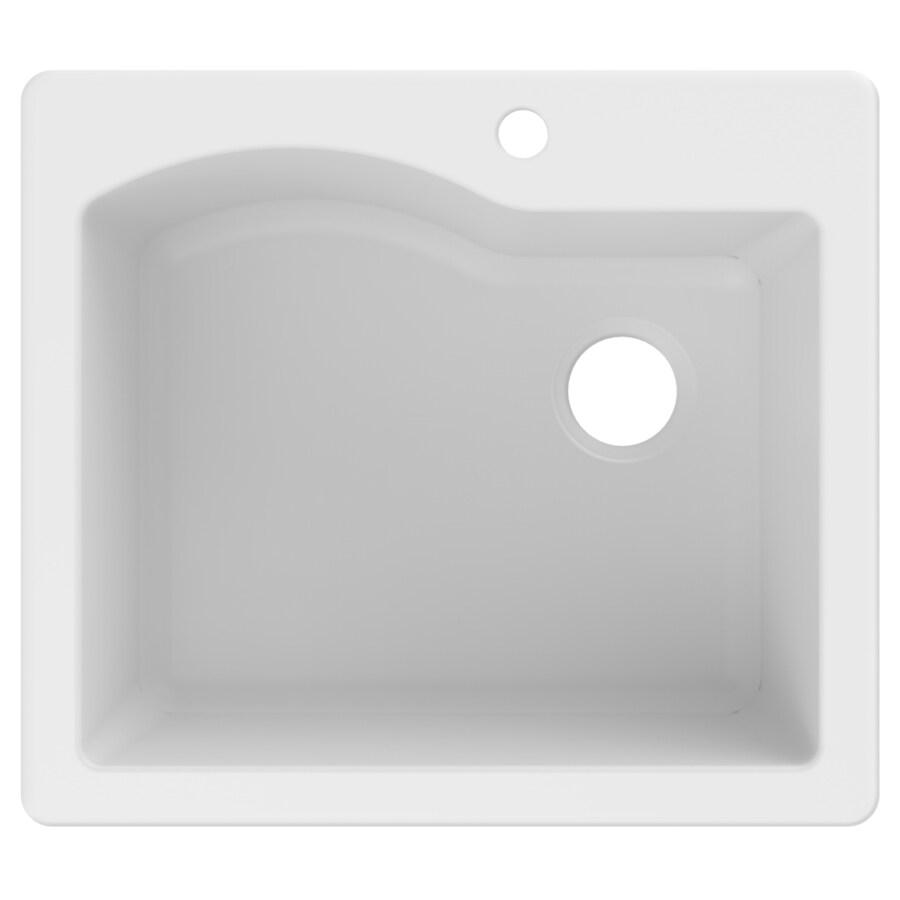 Shop Kraus Quarza 25-in x 22-in White Single-Basin Granite Drop-In 4 ...