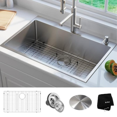 Standart PRO 33-in x 22-in Stainless Steel Single Bowl Drop-In 2-Hole  Commercial/Residential Kitchen Sink