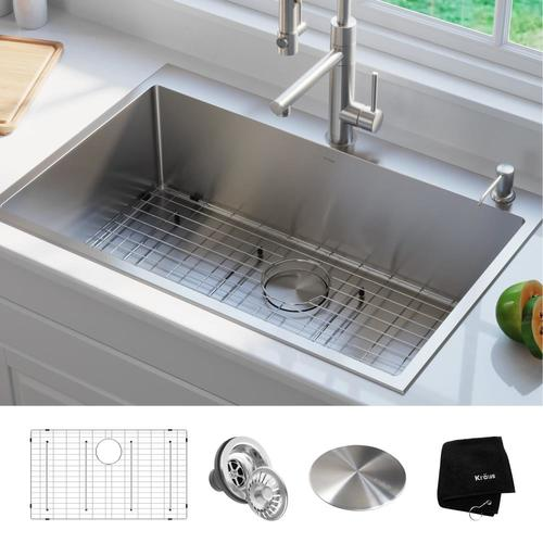 Kraus Standart PRO 33-in x 22-in Stainless Steel Single Bowl Drop-In 2-Hole  Commercial/Residential Kitchen Sink at Lowes.com