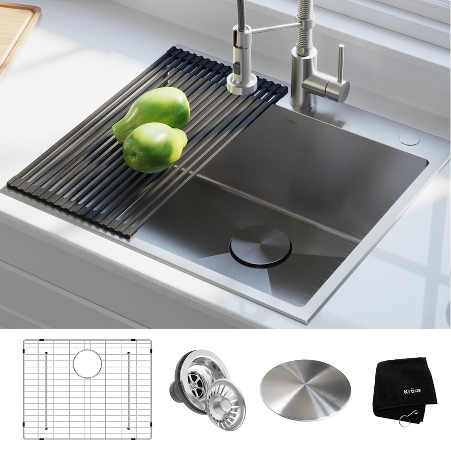 Kraus Standart Pro Drop In 25 In X 22 In Stainless Steel Single Bowl 2 Hole Kitchen Sink In The Kitchen Sinks Department At Lowes Com