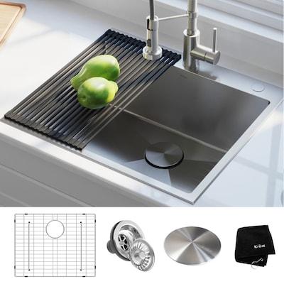 Standart PRO 25-in x 22-in Stainless Steel Single-Basin Drop-In 2-Hole  Residential Kitchen Sink