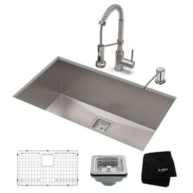 KRAUS Kitchen Set with Pax? Stainless Steel Kitchen Sink and Bolden? Commercial Pull-Down Kitchen Faucet in Stainless Steel