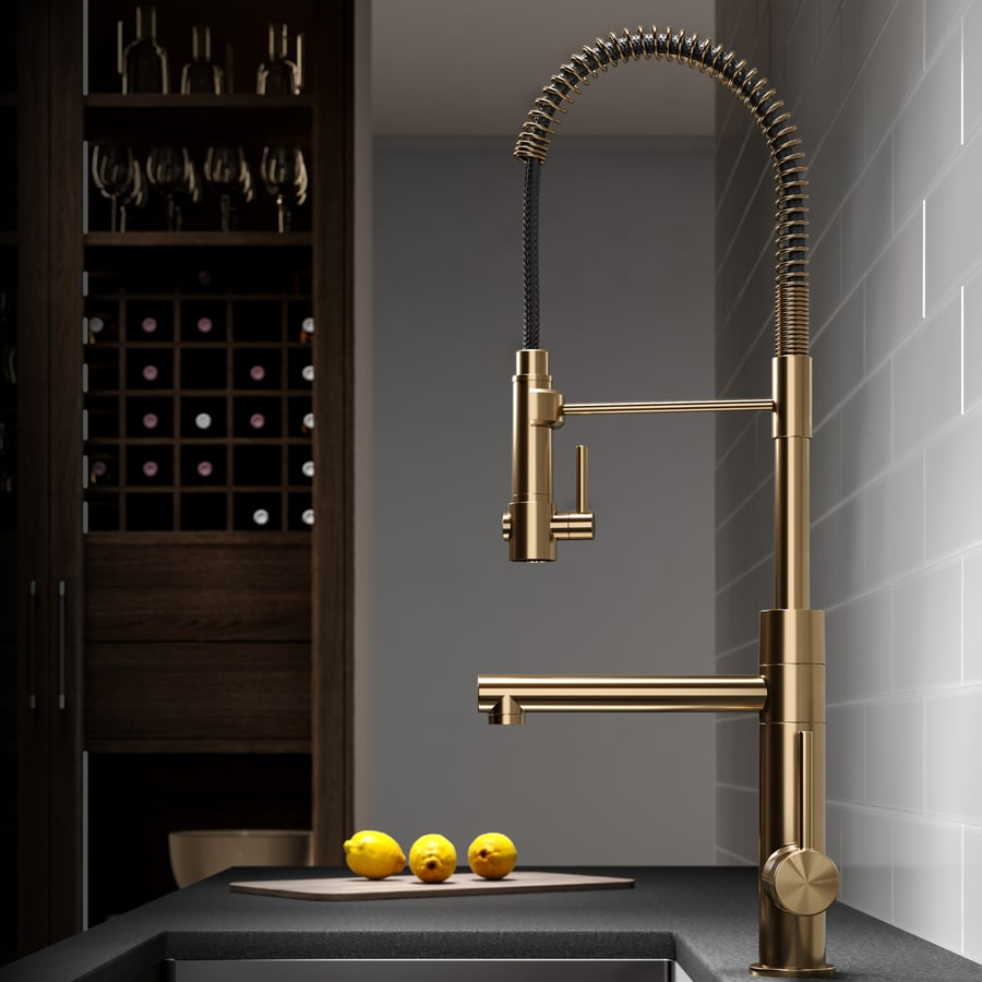 Gold Kitchen Faucet: Kraus Artec Brushed Gold 1-handle Deck Mount Pre-rinse