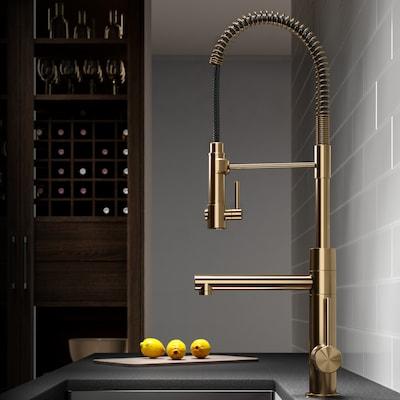 Artec Brushed Gold 1-handle Deck Mount Pre-rinse Kitchen Faucet