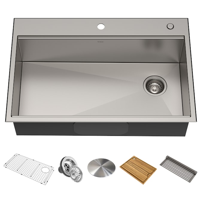 Kraus Kore Workstation Dual Mount 33 In X 22 In Stainless Steel Single Bowl 2 Hole Workstation Kitchen Sink All In One Kit With Drainboard In The Kitchen Sinks Department At Lowes Com