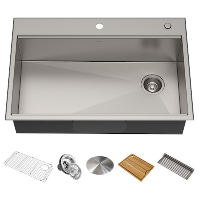 Terrific Kore 33 In X 22 In Stainless Steel Single Basin Drop In Or Undermount 2 Hole Commercial Residential Kitchen Sink With Drainboard Complete Home Design Collection Lindsey Bellcom