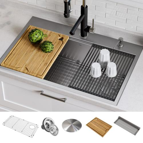 Kraus Kore 33-in x 22-in Stainless Steel Single Bowl Drop-In or Undermount  2-Hole Commercial/Residential Kitchen Sink All-in-One Kit with Drainboard  ...