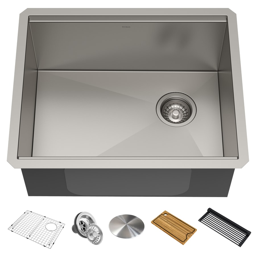 Kraus Kore Workstation Undermount 23 In X 19 In Stainless Steel Single Bowl Workstation Kitchen Sink All In One Kit With Drainboard In The Kitchen Sinks Department At Lowes Com
