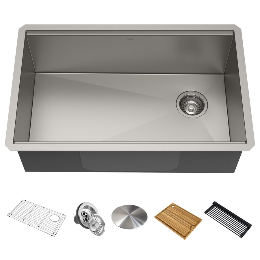 Kraus Kore Workstation Undermount 30 In X 19 In Stainless Steel Single Bowl Workstation Kitchen Sink All In One Kit With Drainboard In The Kitchen Sinks Department At Lowes Com