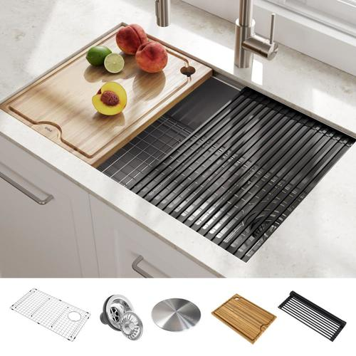 Kraus Kore 30-in x 19-in Stainless Steel Single Bowl Undermount  Commercial/Residential Kitchen Sink All-in-One Kit with Drainboard at  Lowes.com