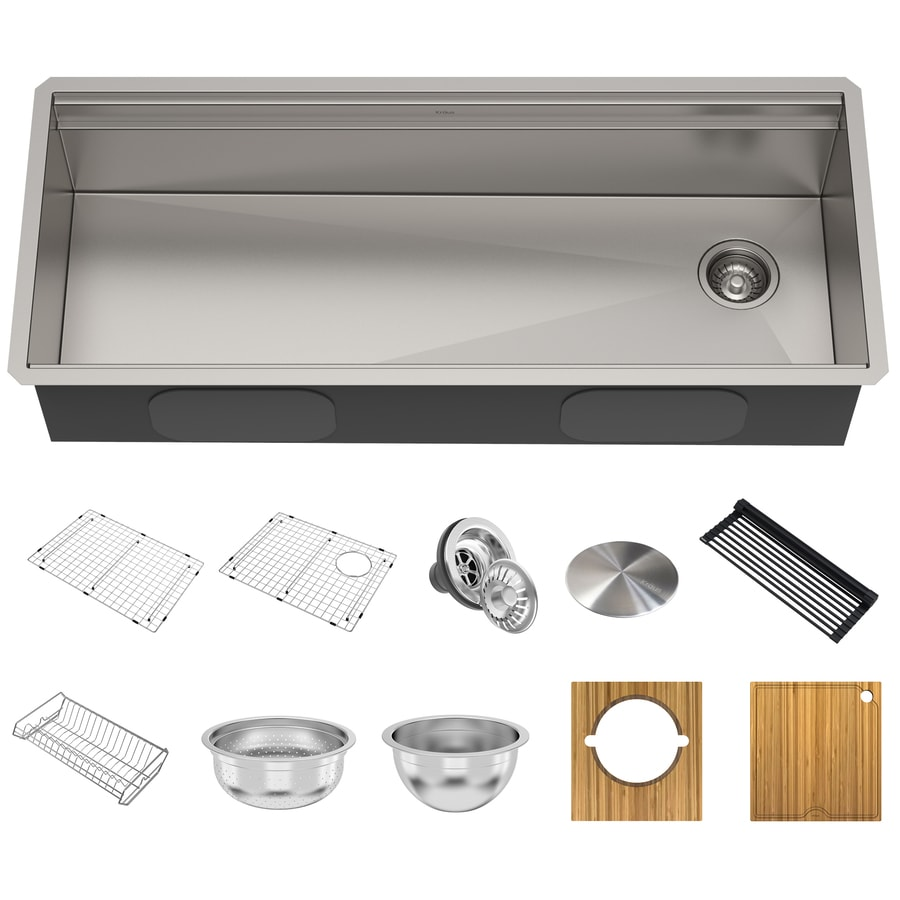 Kraus Kore Workstation Undermount 45 In X 19 In Stainless Steel Single Bowl Workstation Kitchen Sink All In One Kit With Drainboard In The Kitchen Sinks Department At Lowes Com