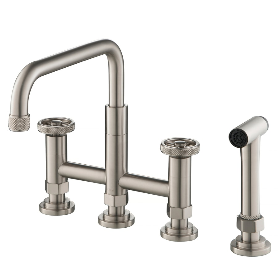 Kraus Urbix Spot Free Stainless Steel 2 Handle Deck Mount Bridge Handle Kitchen Faucet In The Kitchen Faucets Department At Lowes Com