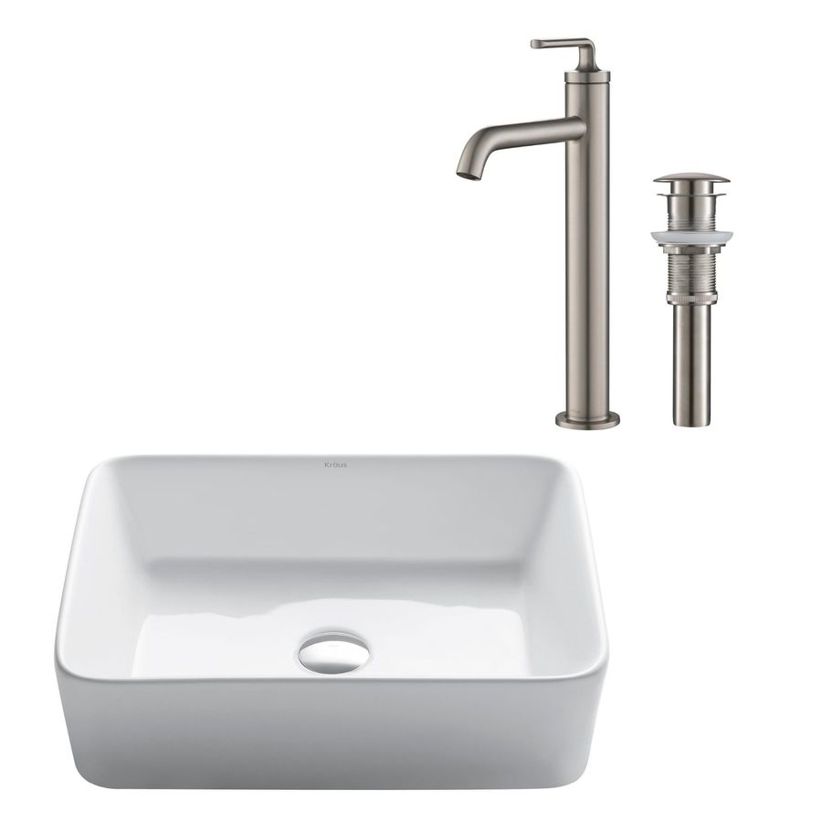 Kraus White Ceramic Vessel Rectangular Trough Bathroom Sink With Faucet With Overflow Drain Drain Included 19 25 In X 15 25 In In The Bathroom Sinks Department At Lowes Com