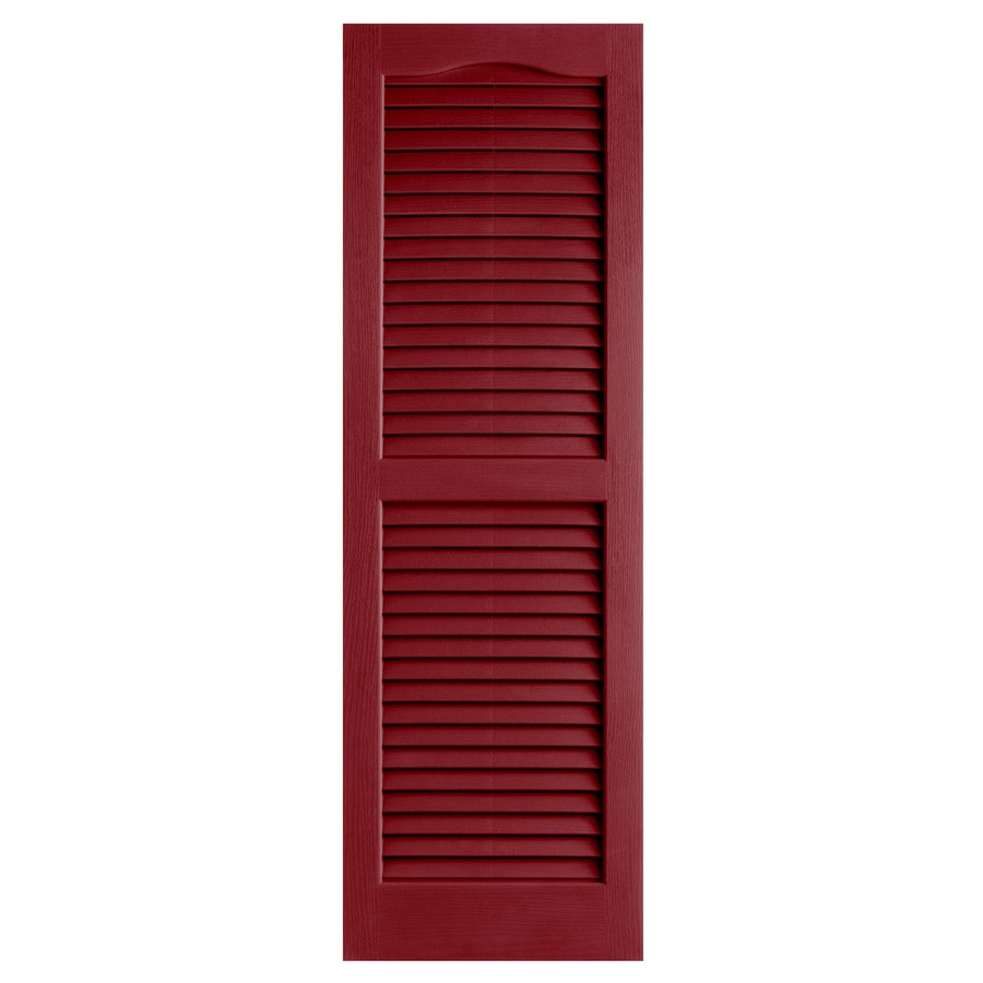Alpha 2-Pack Cranberry Louvered Vinyl Exterior Shutters (Common: 14-in x 25-in; Actual: 13.75-in x 24.88-in)
