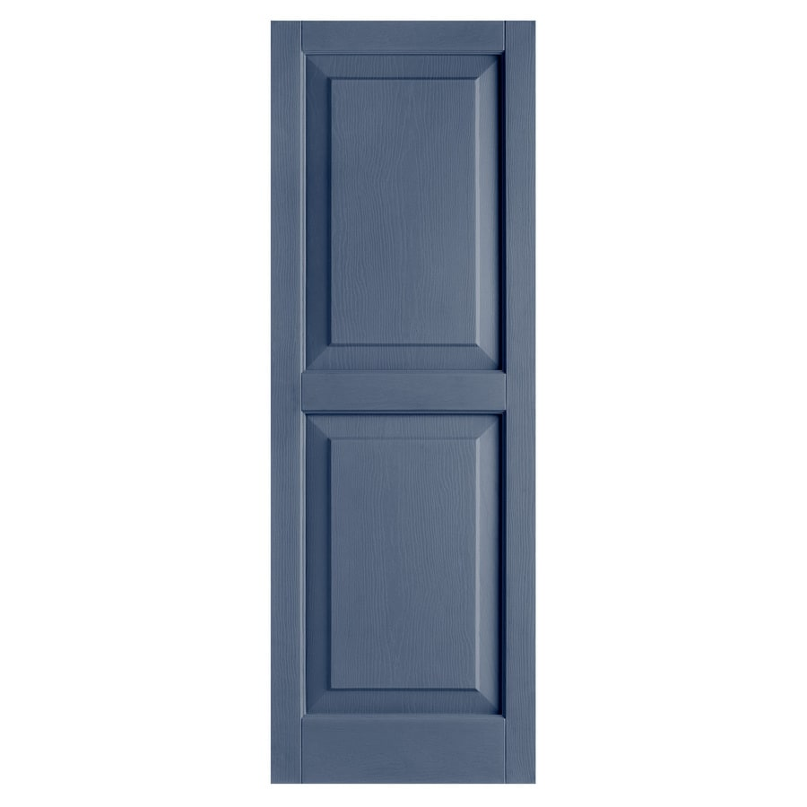Alpha 2-Pack Blue Raised Panel Vinyl Exterior Shutters (Common: 15-in x 43-in; Actual: 14.75-in x 42.44-in)
